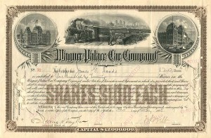 Wagner Palace Car Company signed by Wm. Seward Webb - Stock Certificate